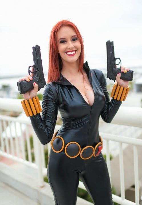 Sexy black widow cosplay