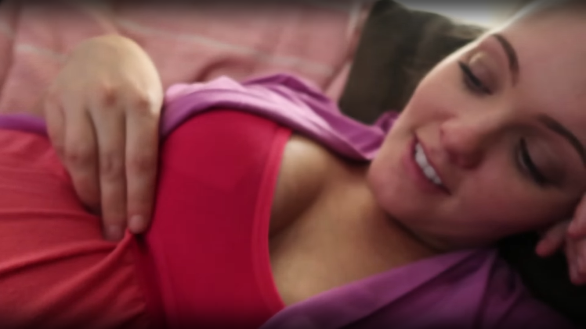 Stepsister sleeping and brother boobs pressing